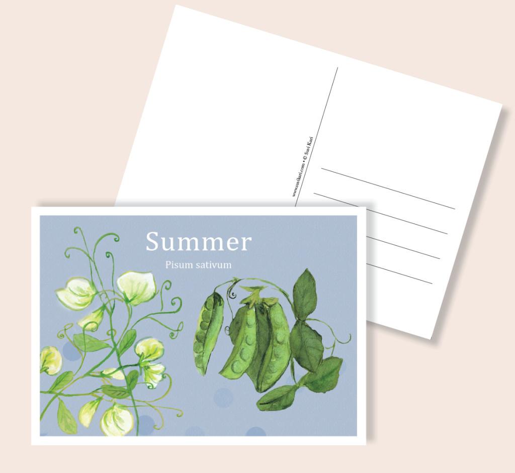 herne, postikortti, kesä